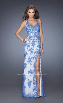 Picture of: Elegant V-Neck Prom Dress with Side Slit and Net Lace in Blue, Style: 20146, Main Picture