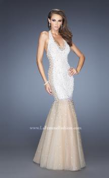Picture of: Long Halter Mermaid Gown with Layered Tulle Skirt in White, Style: 20147, Main Picture