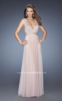 Picture of: V Neck Vintage Inspired Prom Dress with Pleated Bodice in Pink, Style: 20149, Main Picture