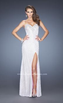 Picture of: Lace Prom Dress with Sweetheart Neckline and Side Slit in White, Style: 20165, Main Picture