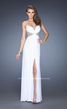Picture of: Long Net Jersey Gown with Center Slit and Cut Outs in White, Style: 20166, Main Picture