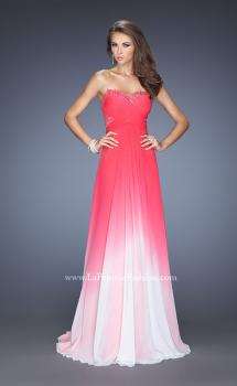 Picture of: Ombre Chiffon Prom Dress with Criss Cross Ruched Bodice in Pink, Style: 20167, Main Picture