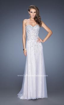 Picture of: Strapless White Lace Prom Gown with Floral Applique in White, Style: 20172, Main Picture