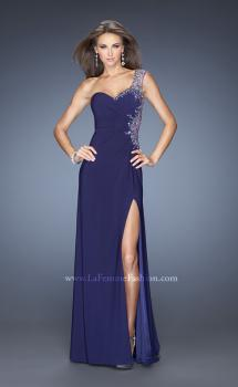 Picture of: Long Ruched Prom Dress with Side Slit and Net Detail, Style: 20176, Main Picture