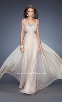 Picture of: Long Prom Gown with Chiffon Skirt and Gathered Waist in Nude, Style: 20203, Main Picture