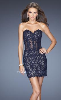 Picture of: Short Form Fitting Dress with Lace Appliques in Blue, Style: 20204, Main Picture