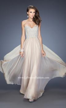 Picture of: Long Chiffon Prom Gown with Pearls and Rhinestones in Nude, Style: 20211, Main Picture