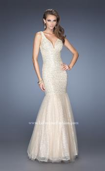 Picture of: V Neck Lace Mermaid Prom Dress Covered in Sequins, Style: 20381, Main Picture
