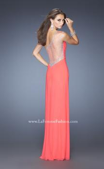 Picture of: Net Jersey Prom Dress with Criss Cross Ruched Bodice, Style: 20384, Main Picture