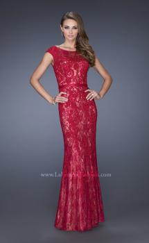 Picture of: Lace Evening Gown with Cap Sleeves and Ribbon Belt, Style: 20394, Main Picture