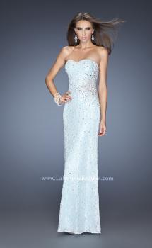 Picture of: Long Lace Gown Heavily Adorned with Embellishments in Blue, Style: 20397, Front Picture