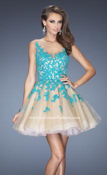 Picture of: Lace Short Dress with Full Tulle Skirt and Sheer Neck in Blue, Style: 20399, Main Picture