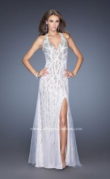 Picture of: V Neck Lace Prom Dress with Slit and Open Back in White, Style: 20421, Main Picture