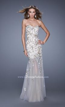 Picture of: Sweetheart Gown with Sheer Tulle Skirt and Lace Detail in White, Style: 20424, Main Picture
