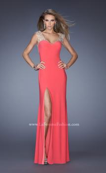Picture of: Sweetheart Jersey Prom Gown with Slit and Cap Sleeves, Style: 20435, Main Picture
