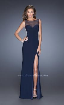 Picture of: Fitted Jersey Prom Dress with Sheer Net Detail and Slit in Blue, Style: 20438, Main Picture