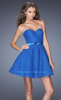 Picture of: Short Lace Dress with Full Skirt and Satin Bow in Blue, Style: 20439, Main Picture