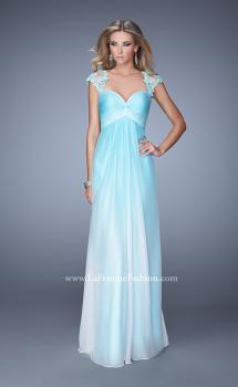 Picture of: Long Ombre Chiffon Gown with Ruched Empire Waist in Blue, Style: 20444, Main Picture