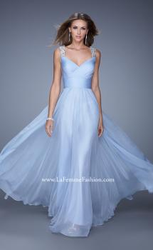 Picture of: Long Chiffon Gown with Jeweled Straps and V Neck in Blue, Style: 20448, Main Picture