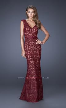 Picture of: Bold Lace Dress with V Neckline and Thin Belt, Style: 20450, Main Picture