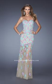 Picture of: Long Prom Gown with Sheer Layered Tulle Skirt in Print, Style: 20459, Main Picture