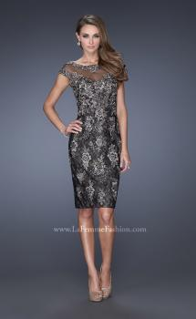 Picture of: Two Tones Lace Evening Dress with Lace Trim in Black, Style: 20465, Main Picture