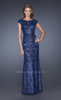 Picture of: Cap Sleeve Lace Evening Gown with High Scoop Neck, Style: 20471, Main Picture