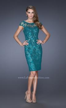 Picture of: Long Lace Gown with Cap Sleeves and Lace Appliques in Green, Style: 20478, Main Picture