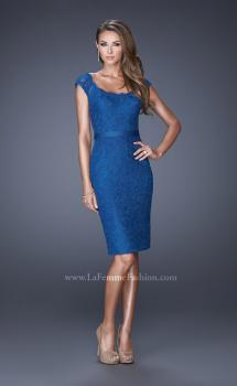 Picture of: Lace Dress with Cap Sleeves and a Thin Belt in Blue, Style: 20481, Main Picture