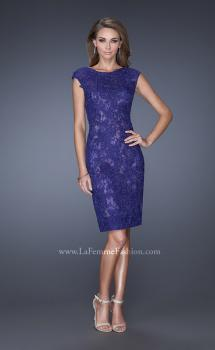 Picture of: Scoop Neck Lace Evening Dress with Small Slit, Style: 20484, Main Picture
