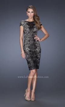 Picture of: Two Tones Lace Evening Dress with High Scoop Neckline in Black, Style: 20485, Main Picture
