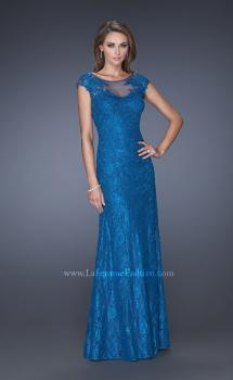 Picture of: Long Lace Evening Dress with Cap Sleeves, Style: 20490, Main Picture