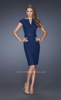 Picture of: Long Pleated Lace Evening Dress with Thin Belt in Blue, Style: 20501, Main Picture