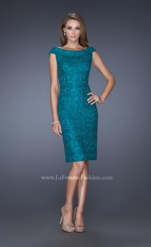 Picture of: Off the Shoulder Lace Gown with Slit in Blue, Style: 20512, Main Picture