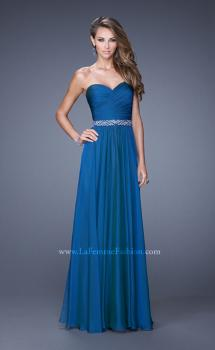 Picture of: Long Chiffon Dress with Ruched Detail and Embellishments in Blue, Style: 20527, Main Picture