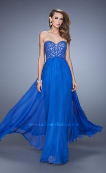 Picture of: Long Prom Gown with Jeweled Lace Appliques and Beads in Blue, Style: 20534, Main Picture