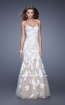 Picture of: Mermaid Prom Dress with Embroidered Leaf Applique in White, Style: 20553, Main Picture