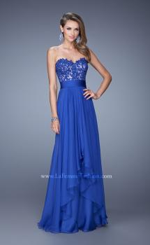 Picture of: Long Chiffon Dress with Tiered Skirt and Jeweled Lace in Blue, Style: 20557, Main Picture