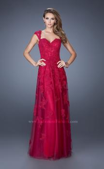 Picture of: Tulle Prom Dress with Lace Applique and Cap Sleeves, Style: 20558, Main Picture
