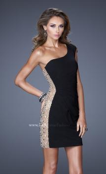 Picture of: One Strap Cocktail Dress with Unique Crystal Design in Black, Style: 20564, Main Picture