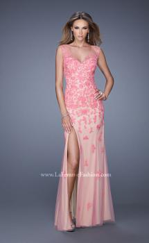 Picture of: Nude Jersey Prom Dress with Colored Tulle Overlay in Pink, Style: 20569, Main Picture