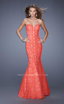 Picture of: Lace Mermaid Gown with Scalloped Lace Trim in Orange, Style: 20570, Main Picture
