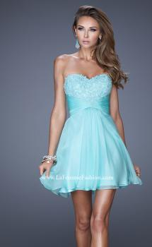 Picture of: Lace and Chiffon Prom Dress with Shimmery Lace Detail in Blue, Style: 20574, Main Picture