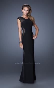Picture of: Long Evening Dress with Cap Sleeves and Open Back in Black, Style: 20579, Main Picture