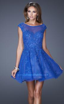 Picture of: Tulle and Lace Cocktail Dress with Polka Dot Detail in Blue, Style: 20591, Main Picture