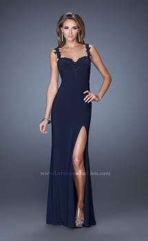 Picture of: Long Jersey Prom Dress with Side Slit and Embellishments in Blue, Style: 20614, Main Picture