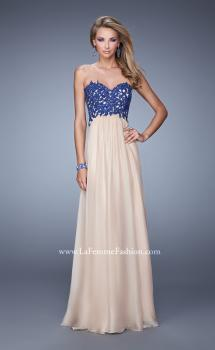 Picture of: Nude Chiffon Prom Gown with Contrasting Beaded Lace Top, Style: 20617, Main Picture