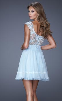 Picture of: Short Chiffon Prom Dress with Jeweled Lace Accents in Blue, Style: 20618, Main Picture