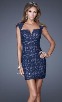 Picture of: V Neck Lace Cocktail Dress with Diamond Back, Style: 20621, Main Picture