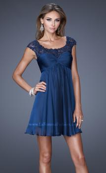 Picture of: Cap Sleeve Chiffon Short Dress with Gathering in Blue, Style: 20624, Main Picture